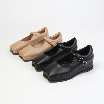 パンプス スクエアトゥ フロントストラップ ベルト ウェッジソール 厚底 レディース 靴 婦人靴 ブラック ブラウン 黒 茶色 歩きやすい 痛くない
