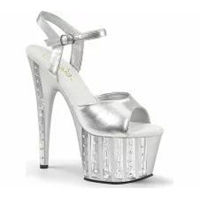 Pleaser レディースサンダル Pleaser Adore 709VLRS Ankle-Strap Sandal Silver P