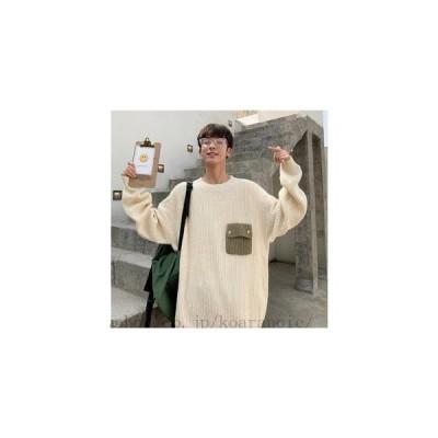 韓国 ファッション メンズ ニット ストライプ セーター 長袖 カットソー 秋冬 アウター ラウンドネック トップス 柔らかい 暖かい 大きいサイズ カジュアル