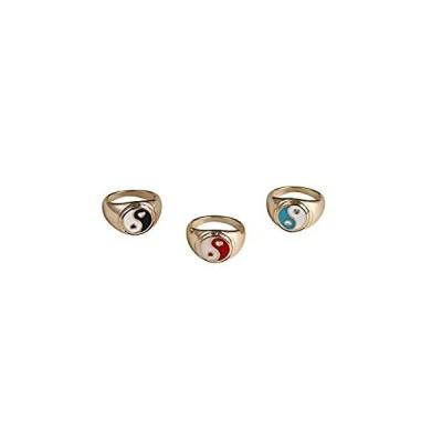 Pingyongchang 3Pcs Vintage Stacking Gold Color Geometric Metal Rings Cute E