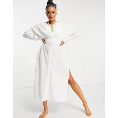 エイソス ASOS DESIGN レディース ビーチウェア 水着・ビーチウェア Asos Design Button Front Maxi Beach Shirt Dress In Texture オフホワイト