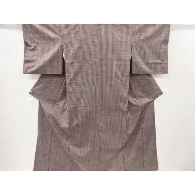 宗sou 縞織出手織り真綿紬着物【リサイクル】【着】