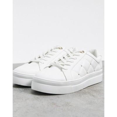 トップショップ レディース スニーカー シューズ Topshop quilted sneaker in white White