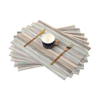 Place Mats Set of 6 Heat Insulation Stain Resistant Placemats for (ブルー)