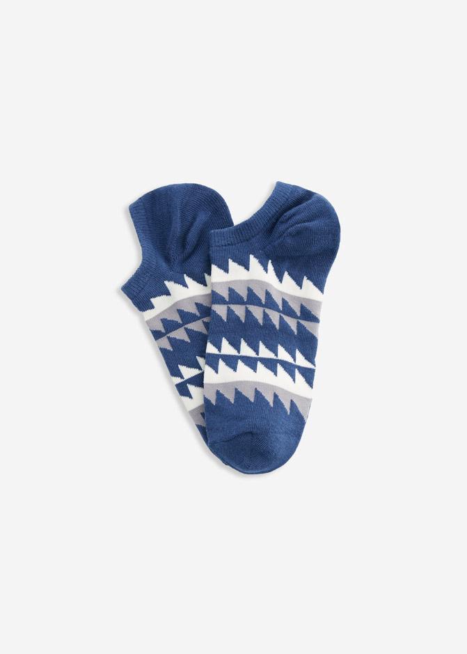 (男款)Ocean.舒棉船型襪(藍/白/灰-幾何)