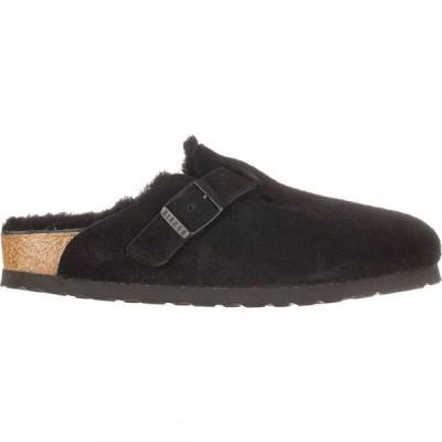 ビルケンシュトック Birkenstock レディース スリッパ シューズ・靴 Boston Shearling Lined Narrow Shoe Black Black Suede
