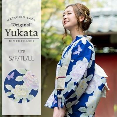 京都きもの町オリジナル 浴衣単品「ブルー 薔薇」女性浴衣 綿浴衣 レトロss2006ykl50