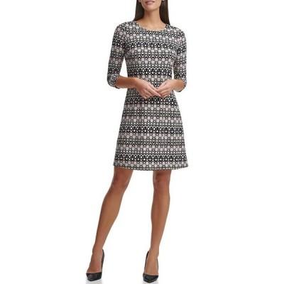 トミー ヒルフィガー レディース ワンピース トップス 3/4 Sleeve Floral Stripe Jersey Dress
