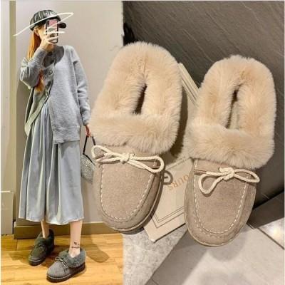 ファーパンブスムートン裏起毛レディースもこもこふわふわ履き心地暖かいボア靴シューズローファーフラット