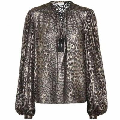 イヴ サンローラン Saint Laurent レディース ブラウス・シャツ トップス Leopard-print silk-blend blouse Noir or Metal