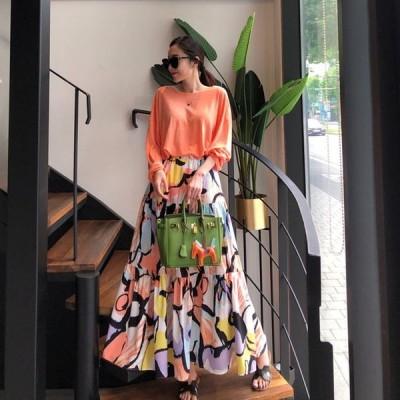 スカート マキシ ティアード ギャザー フレアー 水彩柄 大胆 個性的 アート ボリューム 主役 ドレス ゴム トロピカル 注目