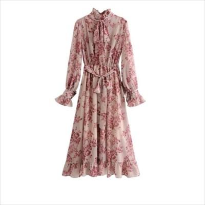 花柄 ワンピースドレス 長袖 リボン Aライン・フレア こなれ感 大人可愛い フリル 春 お出かけ