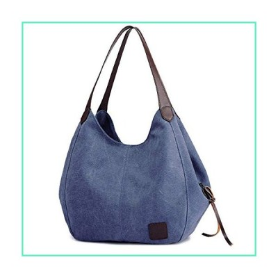 DOURR Women's Multi-pocket Shoulder Bag Fashion Cotton Canvas Handbag Tote Purse (Dark Blue)並行輸入品