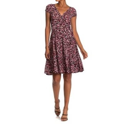 マギーロンドン レディース ワンピース トップス Abstract Print Cap Sleeve Dress BK/FLAME