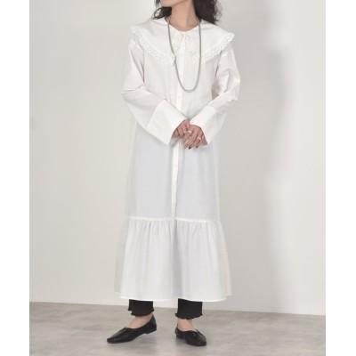【ダブルクローゼット】 カットワークレースBIG衿ティアードシャツワンピース レディース ホワイト FREE w closet