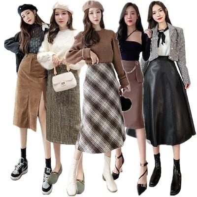 スカート秋冬ロングスカートタイトスカート韓版ハイウエストのワンピースミニスカート韓国ファッション復古