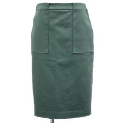 Aquascutum アクアスキュータム スカート 膝丈 ボトムス カーキ グリーン 緑 8 タイト バックスリット バックジップ コットン 綿 日本製