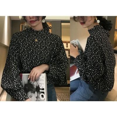 シャツ ブラウス ボリューム袖 ハイネック 体型カバー 着痩せ 花柄 シンプル カジュアル