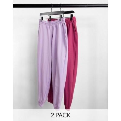 エイソス ASOS DESIGN メンズ ジョガーパンツ 2点セット ボトムス・パンツ Oversized Joggers In Purple/Red 2 Pack