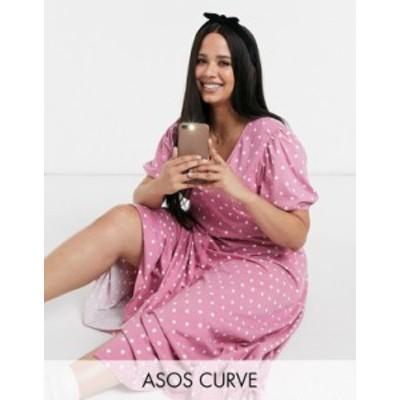 エイソス レディース ワンピース トップス ASOS DESIGN Curve midi v neck button front tea dress in rose polka dot Rose spot