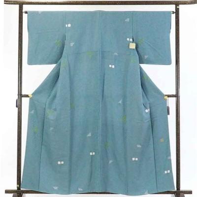 リサイクル着物 小紋 正絹ブルー地金通し袷小紋着物