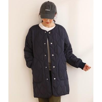 ノーカラー中綿キルトコート (コート)(レディース)Coat
