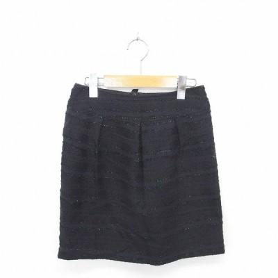 【中古】ナチュラルビューティーベーシック NATURAL BEAUTY BASIC スカート タイト ひざ丈 ラメ バックジップ S 黒 ブラック /TT7 【ベクトル 古着】