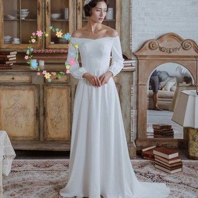 ウエディングドレス パーティードレス 袖付き 二次会ドレス 結婚式 ウェデイングドレス 花嫁 オフショルダー Aラインドレス 長袖 スレンダードレス 発表会
