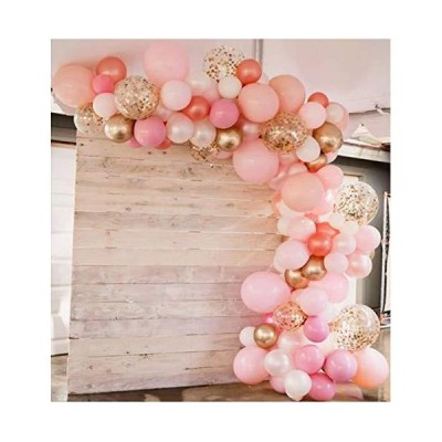 Rose Gold Balloons 130 Piece Pack 12 Inch Gold and Pink Balloons and Pink C