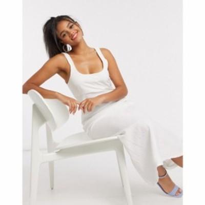 エイソス ASOS DESIGN レディース ワンピース キャミワンピ ワンピース・ドレス linen cami maxi dress in white ホワイト