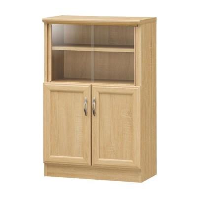 ミニカップボード/食器棚 〔ナチュラル〕 高さ879mm 移動棚 扉収納付き 『ホノボーラ』 〔キッチン 台所 ダイニング〕 組立式〔代引不可〕