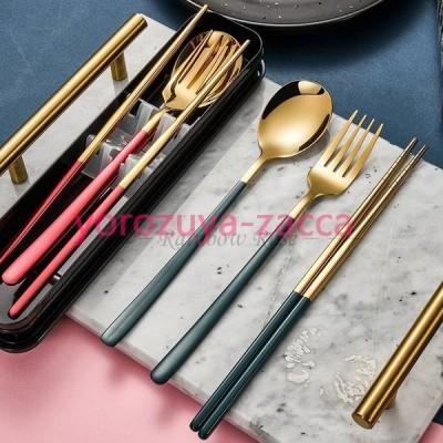 食器 3本セット お箸 スプーン フォーク カトラリーセット オフィス キャンプ アウトドア ステンレス ピクニック バーベキュー 収納ケース付き