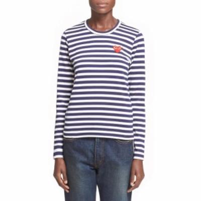 コム デ ギャルソン COMME DES GARCONS レディース Tシャツ トップス PLAY Stripe Tee Navy/White
