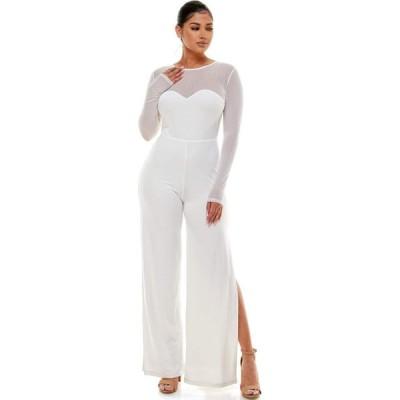 ベベ Bebe レディース オールインワン ジャンプスーツ ワンピース・ドレス Embellished Illusion Jumpsuit White