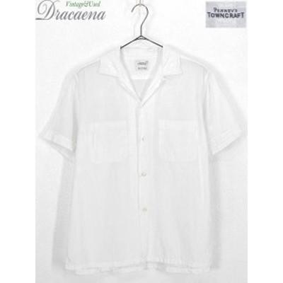 古着 半袖シャツ 60s Penney's TownCraft 清涼 メッシュ 開襟 ボックス ホワイト シャツ 15 1/2 古着