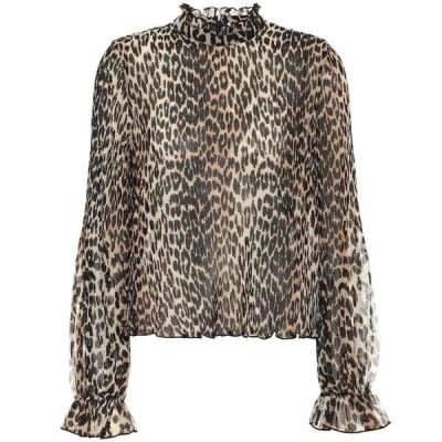 ガニー Ganni レディース ブラウス・シャツ トップス leopard-print georgette blouse Leopard