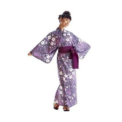 浴衣 大人女性用 日本製 帯付き 浴衣セット 婦人 レディース 【紫乱菊柄】 (Lサイズ)