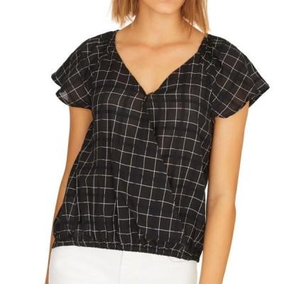 レディース 衣類 トップス Women's Blouse Deep Large Checkered Print V-Neck L ブラウス&シャツ