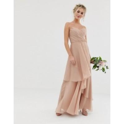 エイソス レディース ワンピース トップス ASOS DESIGN Bridesmaid maxi bandeau dress with soft layered skirt Soft blush