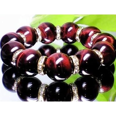高級レッドタイガーアイ赤虎目石18ミリ迫力重量感金色ロンデル人気数珠【天然石】【ブレスレット】【パワーブレス】【数珠】【パワースト