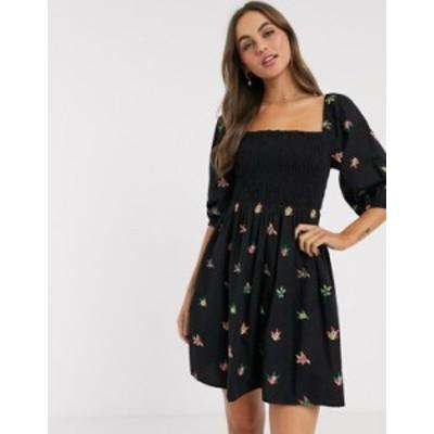 エイソス レディース ワンピース トップス ASOS DESIGN shirred mini dress with all over embroidery in black BLACK