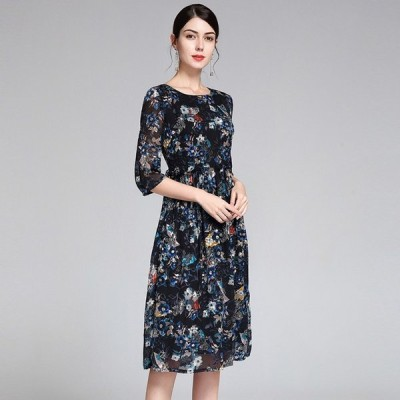 パーティドレス ♪セレブファッション 100%シルク! Aラインワンピース 高級素材 春夏新作 エンボス加工 可憐な花々が彩る上品なワンピ 【送料無料】