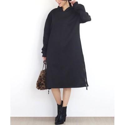 【アミュレット】 暖かパーカーワンピース 裏起毛 パーカー 秋冬ワンピース 大きいサイズ レディース レディース ブラック L Amulet