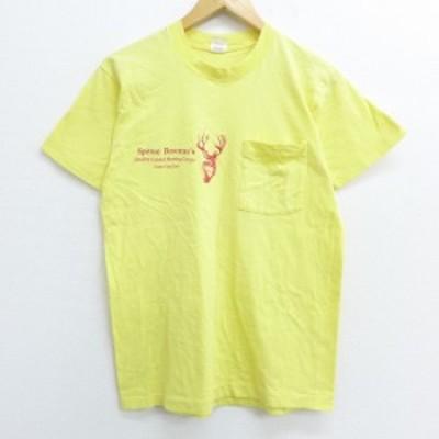 古着 半袖 ビンテージ Tシャツ 80年代 80s シカ 胸ポケット付き コットン クルーネック USA製 薄黄 イエロー Mサイズ 中古 メンズ Tシャ