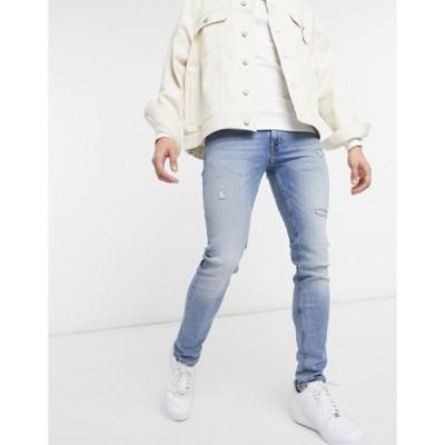 ジャック アンド ジョーンズ メンズ デニムパンツ ボトムス Jack & Jones Intelligence Liam skinny jeans with rips in light blue