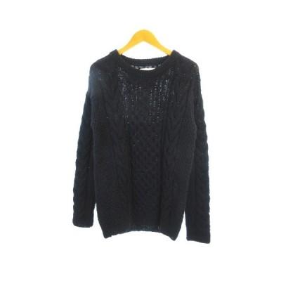 【中古】エイチエムシー hmc 美品 ウール メッシュ アラン編み セーター ニット ネパール製 長袖 ブラック 黒 2 【ベクトル 古着】