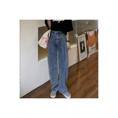 【送料無料】~ 韓国 ハイウエスト 着やせ ストレートジーンズ 息子 秋冬バージョン 新品 ワイドレ | 346770_A64475-8266147