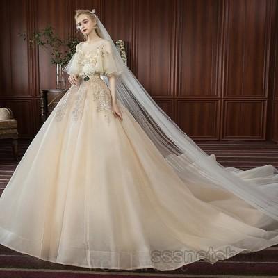 ウェディングドレス大きいサイズハイウエスト花嫁ドレスキャミトレーンラインプリンセスドレス肩出し披露宴パーティードレス2021新作