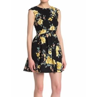 ファッション ドレス Emerald Sundae Womens Black Yellow Small S Floral Print A-Line Dress