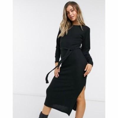 トップショップ Topshop レディース ワンピース ミドル丈 ワンピース・ドレス Ribbed Ruched Midi Dress In Black ブラック